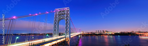 Spoed Foto op Canvas Donkerblauw George Washington Bridge panorama
