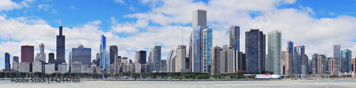 Door stickers Chicago Chicago city urban skyline panorama
