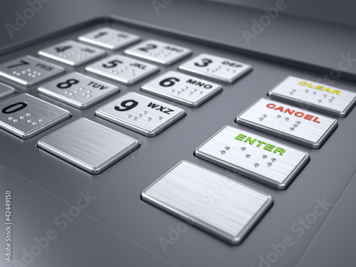Fototapeta ATM machine keypad numbers