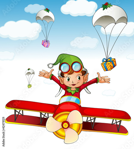 Papiers peints Avion, ballon Elf delivering gifts