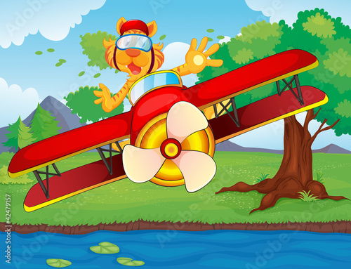 Papiers peints Avion, ballon Plane and tiger