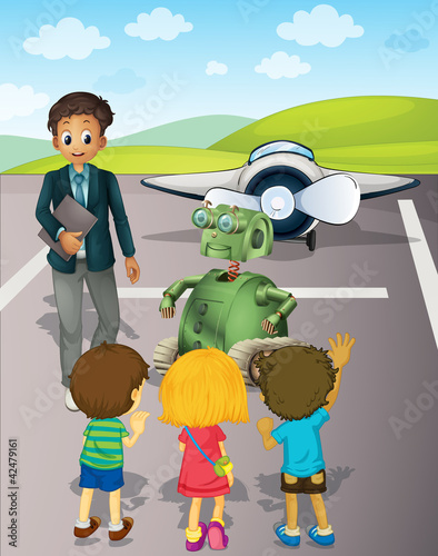 In de dag Vliegtuigen, ballon Kids at the airport