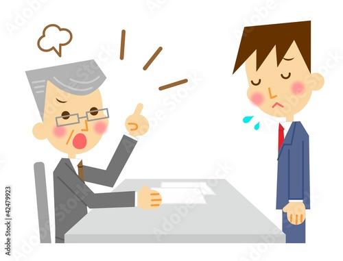 Fotografie, Obraz  怒られるビジネスマン