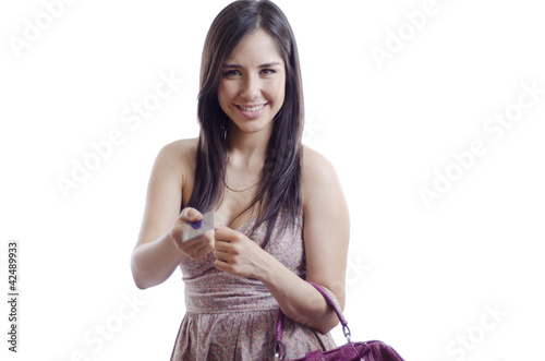 cute housewife paying with credit card buy this stock photo and