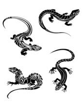Fast Lizards In Tribal Style