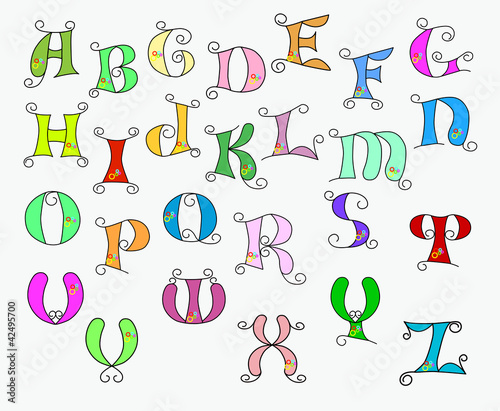 illustration of colorful funky alphabet buy this stock