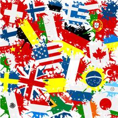 Naklejka Fond drapeaux monde