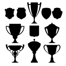 Black Champion Cup And Coat Of Arms. Vector