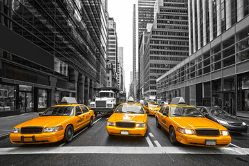 Obraz na SzkleTYellow taxis in New York City, USA.