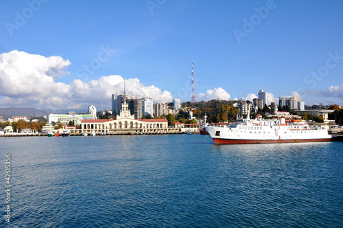 Foto auf Gartenposter Stadt am Wasser The passenger ship on anchor parking in the Sochi sea port