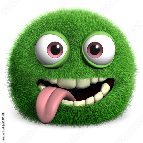 Doux monstres green furry monster