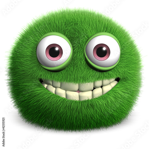 Tuinposter Sweet Monsters green furry monster