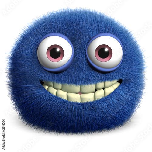 Poster de jardin Doux monstres blue cute monster