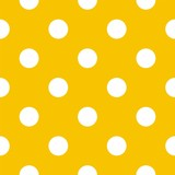 Polka dots on yellow background retro seamless vector pattern - 42532575
