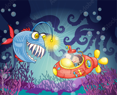 Aluminium Prints Submarine monster fish and submarine