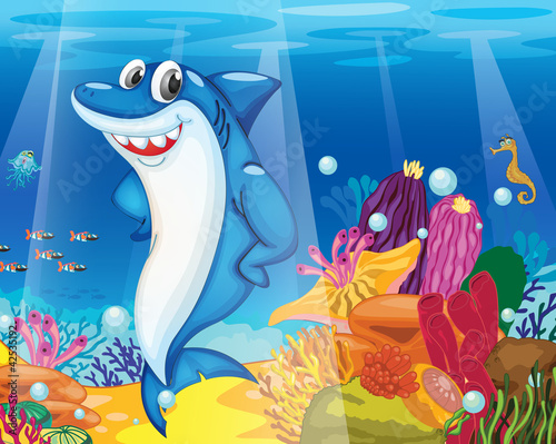 Wall Murals Submarine shark fish