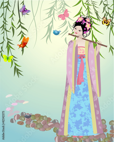 Foto op Canvas Bloemen vrouw Chinese girl dressed at the lake