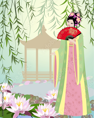 Poster Bloemen vrouw Chinese landscape with girl