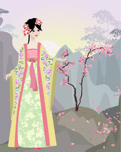Chinese Landscape With Girl