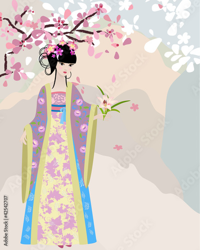 Poster Bloemen vrouw cherry blossom and a girl in national costume