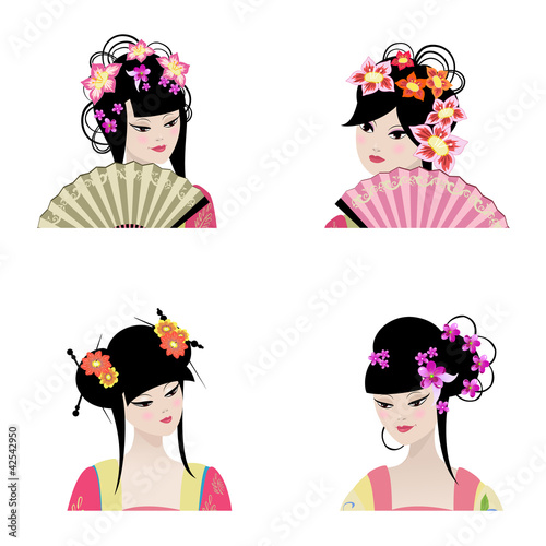Poster Bloemen vrouw Portrait of a beautiful Chinese girls