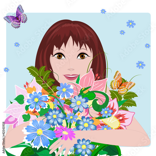Poster Bloemen vrouw Girl in love with flowers