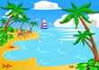 sea beach with palm by sailboat chair