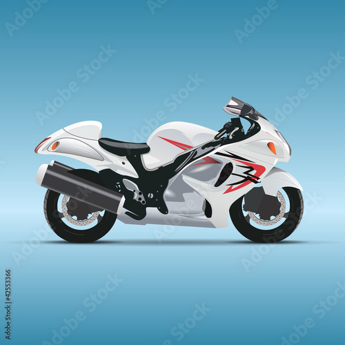 Tuinposter Motorfiets Vector motorcycle on blue background