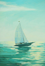 Sailing Boat In The Morning Sea, Painting,  Illustration