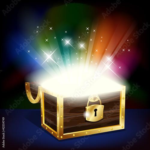Fotografie, Obraz  Chest with glowing treasure - vector file