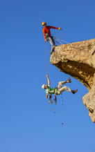 Falling Climber Saved By His P...