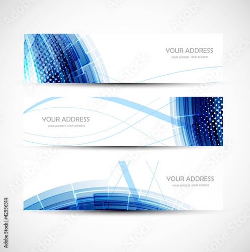 Fototapeta abstract colorful blue wave header vector set obraz