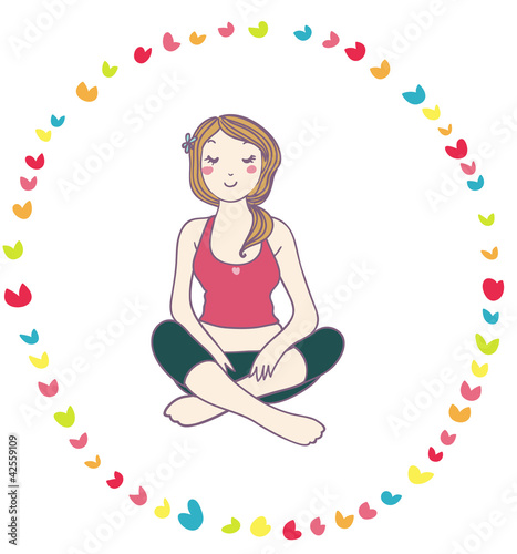 Fotografija  giovane donna si rilassa facendo yoga