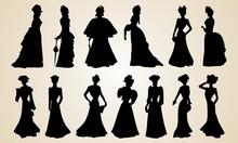 Elegant Victorian Women Silhou...