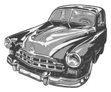 Vintage Car, Vector Illustration
