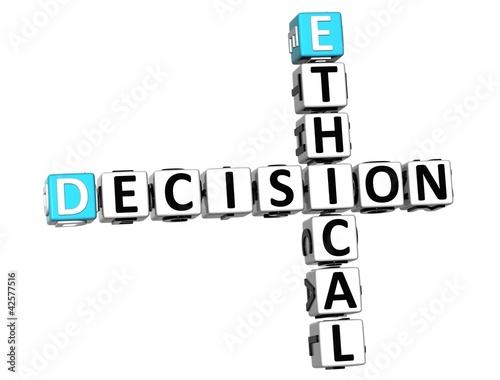 Fotografie, Obraz  3D Ethical Decision Crossword