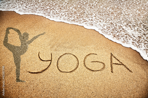 Doppelrollo mit Motiv - Yoga on the sand