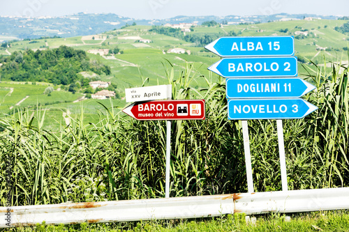 signposts near Barolo, Piedmont, Italy Wallpaper Mural