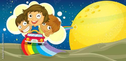 Foto op Canvas Regenboog kids driving car
