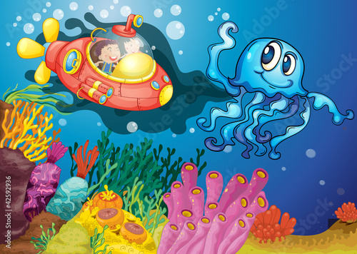 Poster de jardin Sous-marin octopus and kids in submarine