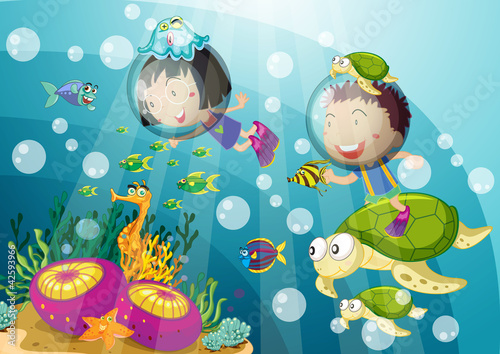Poster de jardin Sous-marin tortoise and kids in deep water