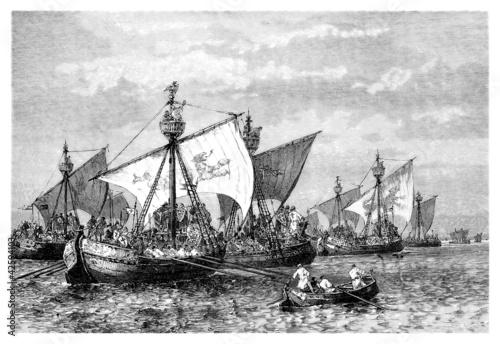 Papiers peints Navire 1st Crusade : Ships on the Bosphorus - 11th century