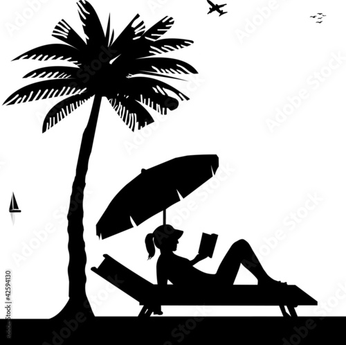 Photo Silhouette of girl reading a book on the beach next to the palm