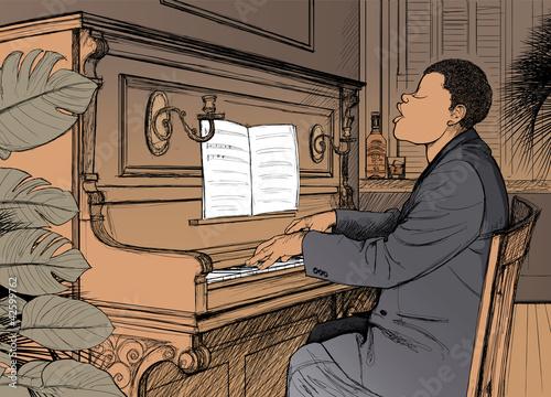 In de dag Muziekband Ragtime pianist