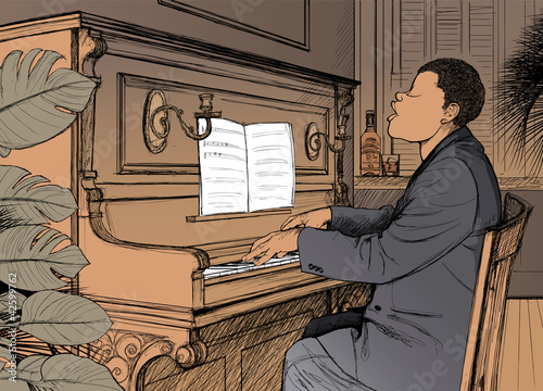 Staande foto Muziekband Ragtime pianist