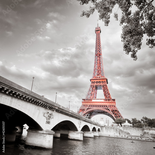 Foto op Aluminium Parijs Eiffel tower monochrome selective colorization