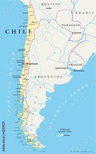 Chile Political Map With Capital Santiago With National Borders Most Important Cities Rivers And Lakes Illustration With English Labeling And Scaling Vector Buy This Stock Vector And Explore Similar Vectors At