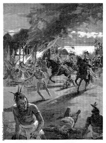 Conquistadors killing Indians - 15th-16th century Canvas Print
