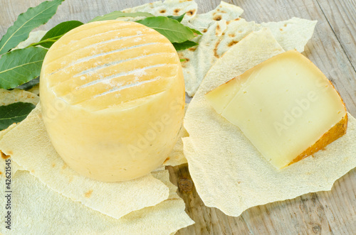 Pecorino sardo cheese, typical sardinian product Canvas Print