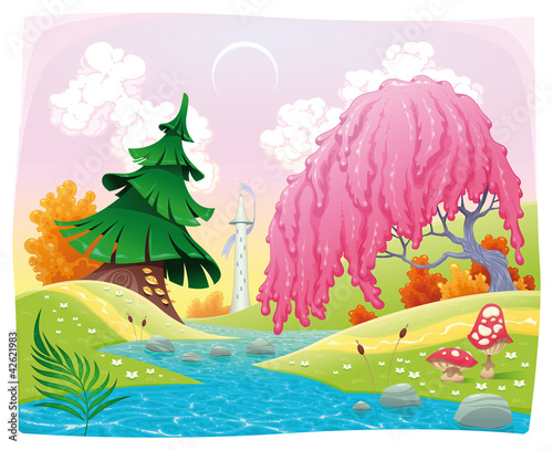 Door stickers Magic world Fantasy landscape on the riverside. Vector illustration.